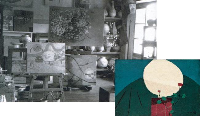 1954년 김환기 아틀리에(왼쪽)와 김환기 작 백자와 꽃. [환기미술관 제공, 서울옥션 제공]