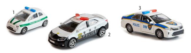 1 2 3 이탈리아, 일본, 한국 미니 경찰차.