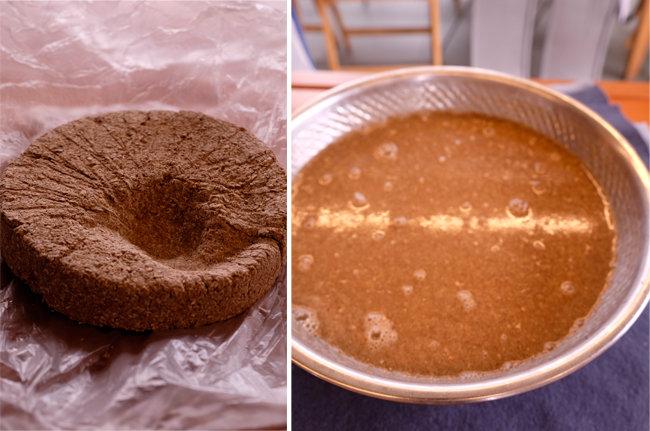 앉은뱅이밀로 만든 누룩(왼쪽). 완성된 밑술.