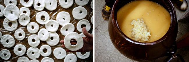 덧술을 만들고자 빚은 구멍떡(왼쪽). 마지막 덧술을 만들고자 고두밥을 넣은 모습. [신동섭 제공]
