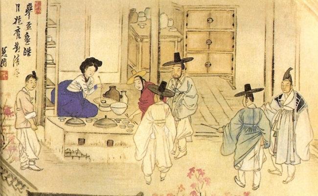 조선시대 술집 풍경을 담은 신윤복 풍속화 '주사거배(酒肆擧杯)'. [동아DB]
