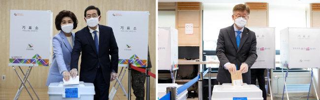 4월 10일 사전투표를 하는 박원순 서울시장 부부(왼쪽)와 이재명 경기지사. [뉴스1]