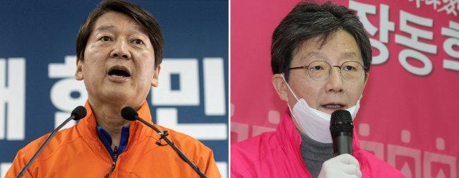 안철수 국민의당 대표(왼쪽).  유승민 미래통합당 의원. [뉴스1]