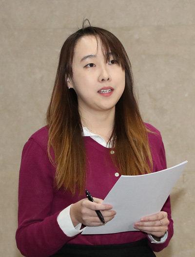 3월 13일 서울 여의도 국회에서 김미균 시지온 대표가 자신을 둘러싼 논란에 대해 해명하고 있다. [김재명 동아일보 기자]