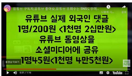 바이럴 마케팅  업체의  '구독자 수 늘리기'  광고물.
