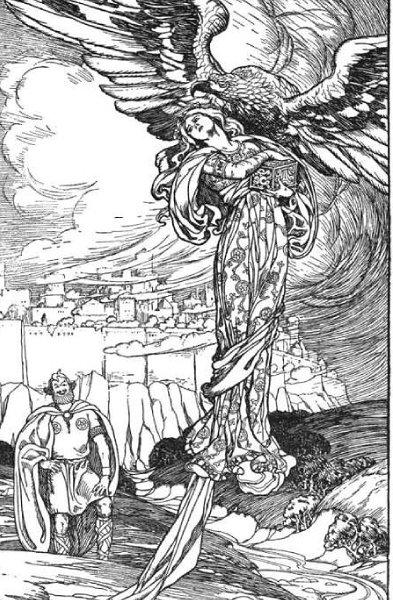 독수리로 변신해 이둔을 납치하는 거인 티아지, Elmer Boyd Smith, 1902
