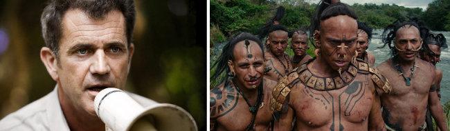 '아포칼립토'의 감독 멜 깁슨(왼쪽)과 그가 캐스팅한 마야어를 사용하는 무명 배우들. [Icon Entertainment International 배급사 제공]
