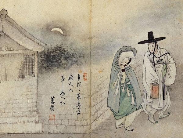 국보 제135호 신윤복의 '월하정인'. [문화재청 홈페이지]