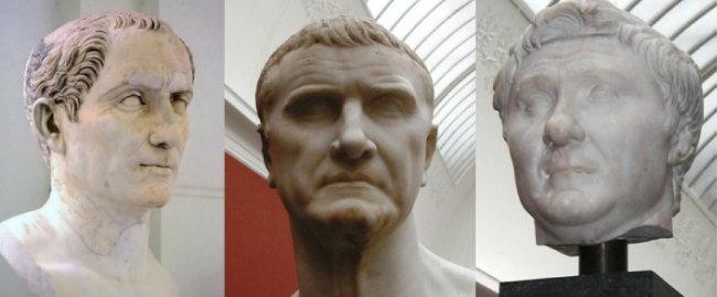 카이사르, 크라수스, 마그누스(왼쪽부터). [wikimedia commons]
