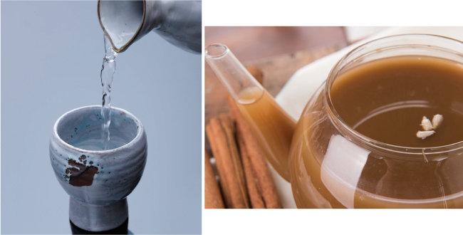 새해 첫날 마시는 술인 도소주(왼쪽)와 술지게미에 물, 흑설탕 등을 넣어 만드는 모주. [한국음식문화 제공, 전주주조 공식홈페이지]