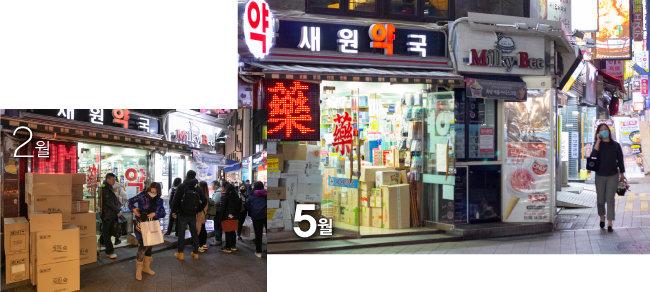2월 마스크를 사려는 사람이 줄지어 서 있던 약국 앞이 5월 8일에는 한산하다.