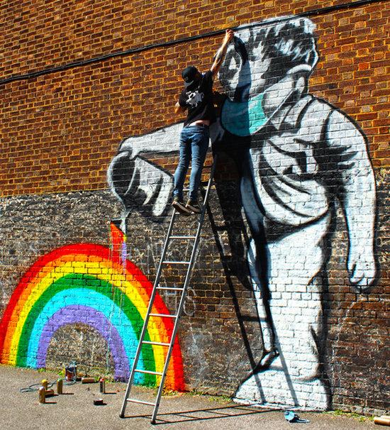 영국 버킹엄셔주 웨스트웨컴 마을의 벽화.