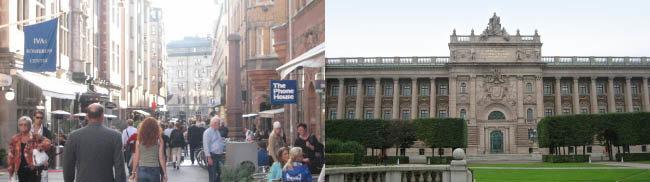 2006년 보수당 중심의 우파연합이 집권한 뒤 스웨덴 수도 스톡홀름 중심의 금융가(왼쪽) 모습과 국회의사당(오른쪽) 모습. [동아DB]