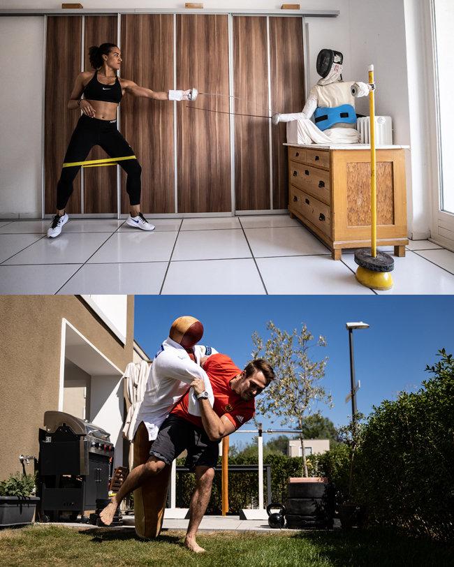 독일, 쾰른/독일 펜싱 선수 알렉산드라 은돌로와 유도 선수 알렉산더 위체르작이 각자 자기 집에서 더미 인형과 같이 운동하고 있다. [GETTYIMAGES]