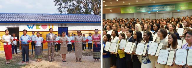 위러브유가 캄보디아 트로르페앙벵초등학교의 교실과 도서실 바닥, 지붕, 외관을 깨끗하게 수리하며 교육환경을 개선했다(왼쪽). 환경리더로 위촉된 각국 대학생들이 환하게 웃고 있다.