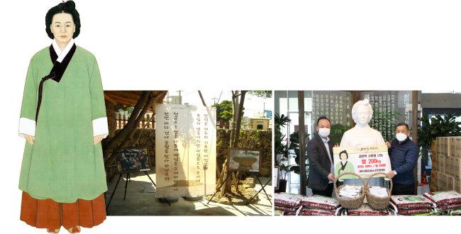 김만덕 할머니의 초상화와 김만덕 객주터. 김만덕기념사업회는 2월 27일 대구사회복지공동모금회를 통해 대구시민에게 사랑의 쌀을 전달한다고 밝혔다(왼쪽부터). [김만덕기념사업회 홈페이지 캡쳐]