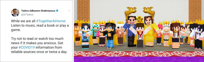 3월 21일(현지시간) 테워드로스 아드하놈 거브러여수스 WHO 사무총장은 자신의 SNS 계정에서 게임을 통한 '사회적 거리두기'를 제안했다(왼쪽). 5월 5일 청와대의 게임 '마인크래프트' 형식 초청 행사.  [청와대 제공]