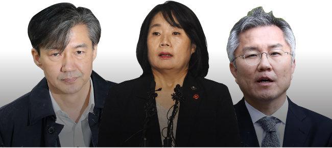 조국 전 법무부 장관, 윤미향 의원, 최강욱 열린민주당 대표(왼쪽부터). [동아DB]