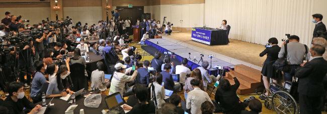 일본군 위안부 피해자 이용수 할머니가 5월 25일 대구 수성구 인터불고호텔에서 기자회견을 하고 있다. [사진공동취재단]