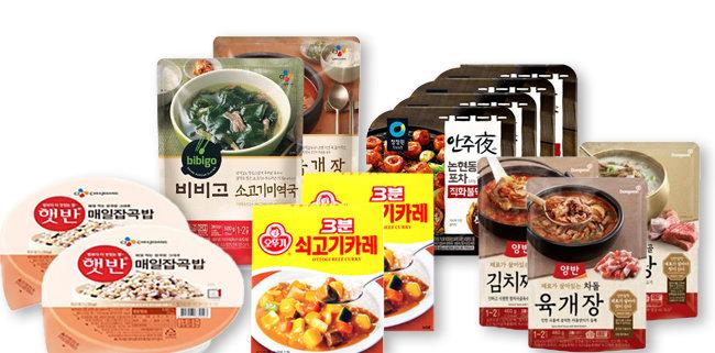 국내 주요 식품기업의  대표 HMR(가정간편식) 브랜드. [각사 제공]