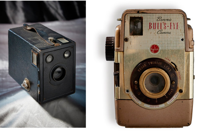 Kodak Box 620 1920~1930년대 유행한 카메라. 가로세로 방향으로 화면을 돌려 촬영할 수 있게 뷰-파인더를 내장했다(왼쪽).  Kodak Brounie BULL