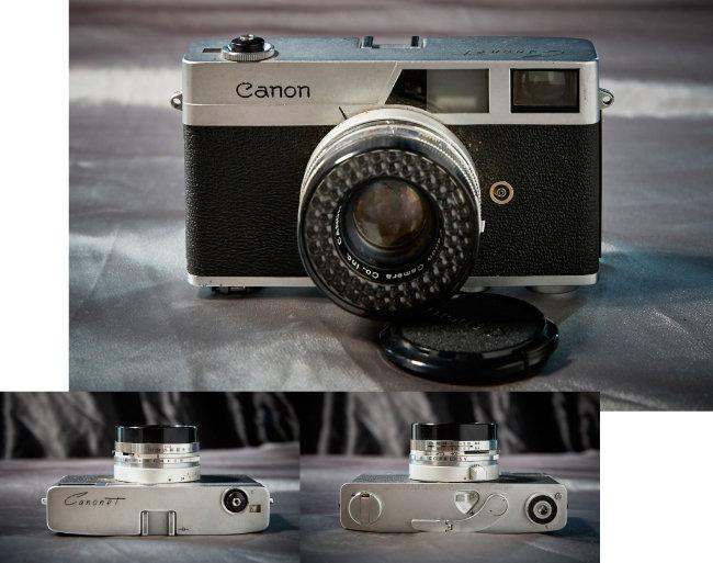 Canon Canonet Original 1961년 출시. 카메라 상단에 셔터 외에 아무것도 없고, 필름과 셔터 와인딩 레버가 전부 카메라 하부에 위치해 있는 것이 특이하다.