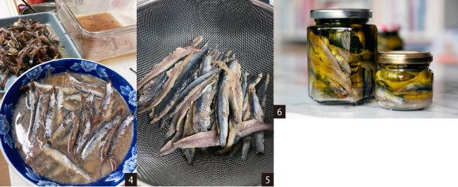 4 식초와 와인에 담가 멸치를 가볍게 절인다. 5 수분을 최대한 뺀다. 6 마늘, 고추, 허브 등과 함께 오일에 저장한다.
