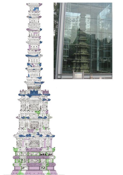 경천사 10층 석탑 도면과 원각사지 10층 석탑(위).  [국립문화재연구소]