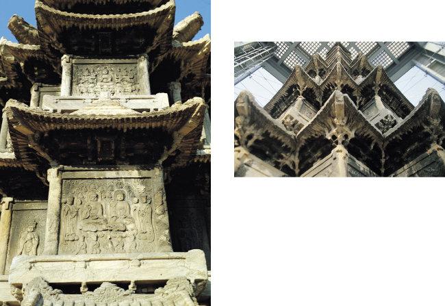 원각사지 탑 표면에는 부처와 보살, 금강역사 등이 정교하게 새겨져 있다. 오른쪽은 옥개석(지붕돌).