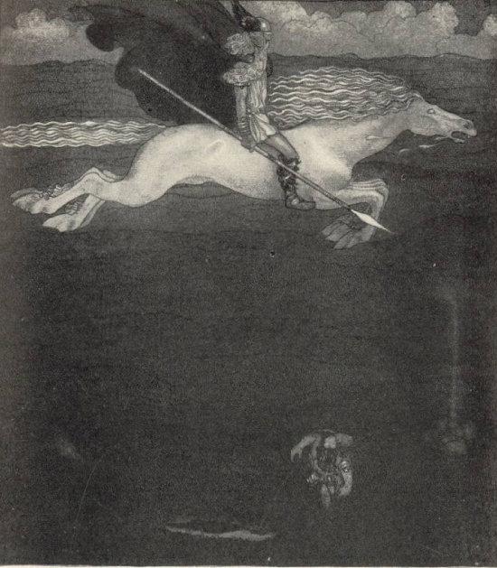 오딘과 애마 슬레이프니르, John Bauer, 1911