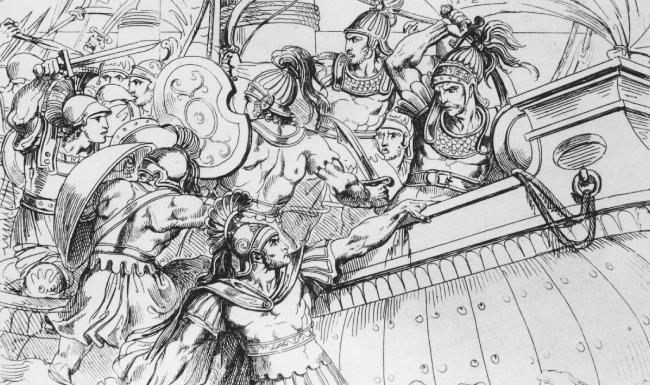기원전 490년경 벌어진 마라톤 전투를 형상화한 그림. [GettyImage]