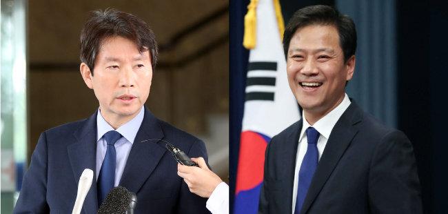 이인영 통일부 장관 후보자(왼쪽), 임종석 대통령외교안보특별보좌관. [동아DB, 청와대 제공]