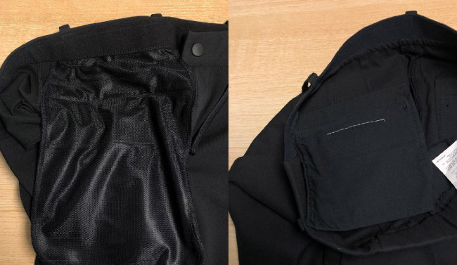 남성복 슬랙스의 뒷주머니 안감(왼쪽)과 여성복 슬랙스의 뒷주머니 안감.  [최희진 제공]