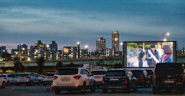 7월 4일 안양천 오금교 주차장에서 진행된 서울 구로국제어린이영화제 현장. [조영철 기자]