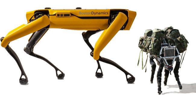 보스턴 다이내믹스의 스폿(왼쪽)과 미국 국방부 산하 방위고등연구계획국(DARPA) 위탁을 받아 보스턴 다이내믹스가 제작한 4족 보행 로봇 '빅독'. [보스턴다이내믹스 홈페이지]