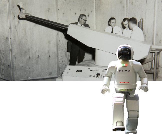 1961년 등장한 산업용 로봇 유니메이트(위)와 2000년 혼다가 공개한 2족 보행 로봇 아시모. [Kawasaki Robotics 홈페이지, 위키피디아]