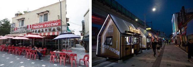 캠프보산에 터 잡은 남미 음식점(왼쪽). 미얀마 음식점 얌마. [지호영 기자]