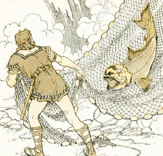 민물꼬치고기로 변한 안드바리를 잡는 로키. [위키피디아]