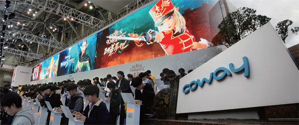 지난해 12월 넷마블은 코웨이를 인수했다. 사진은 지난해 11월 부산에서 열린 국제 게임 전시회 'G-STAR'의 넷마블 부스.