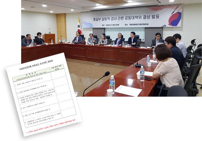 8월 11일 서울 영등포구 국회 의원회관에서 30여 개 시민단체가 모여 '정부의 북한인권·탈북민 단체 탄압 공동대책위원회'를 결성했다(위). 통일부가 64개 시민단체에 보낸 '등록요건 유지 여부 점검표'. [북한인권·탈북민 단체 공대위 제공]
