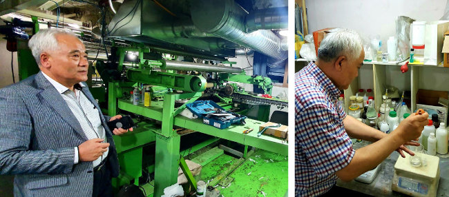 국승원 새니더바이오 대표가 운영하는 부산 사상구 SnB케미칼 공장과 그가 실험실에서 연구하는 모습(왼쪽부터). [새니더바이오 제공]