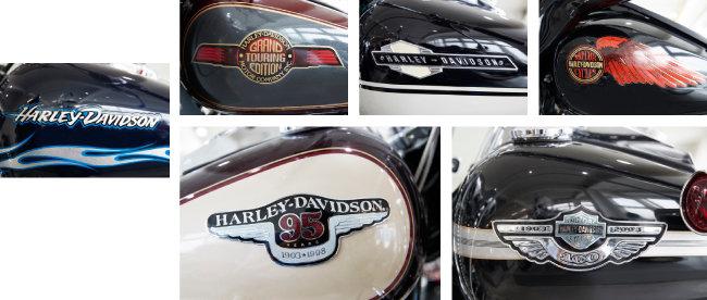 할리 데이비슨 바이크 기름통에 새겨진 다양한 로고.