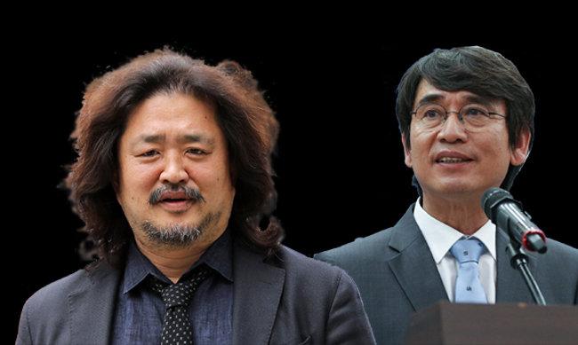 방송인 김어준(52) 씨(왼쪽)와 유시민(61) 전 장관은 명실상부한 '말의 권력'으로 자리매김했다. [뉴스1]