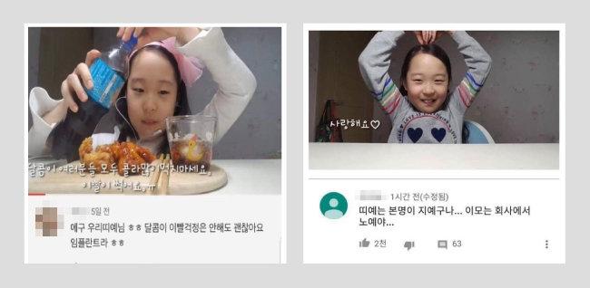 어린이 유튜버 '띠예'의 영상에 달린 댓글이 화제다. [유튜버 '띠예' 영상 캡처]