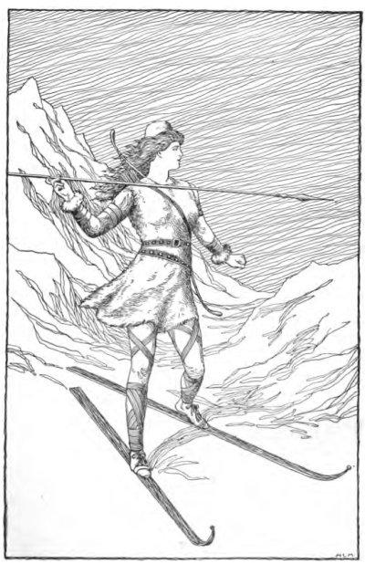 산속에서 사냥하는 스카디, H. L. M, 1901.