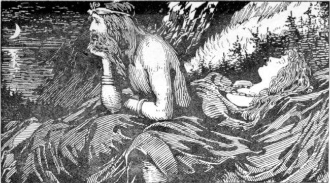 바다를 그리워하는 뇨르드, W.G. Collingwood, 1908.