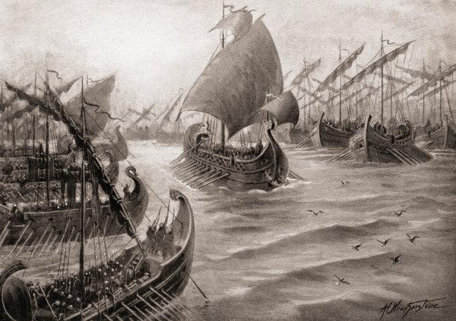 기원전 466년 델로스 동맹과 페르시아제국의 에우리메돈 전투. [GettyImage]