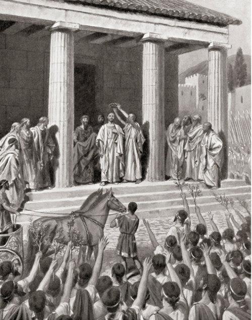 테미스토클레스가 살라미스해전에서 승리한 후 월계관을 쓰고 있다. [GettyImage]