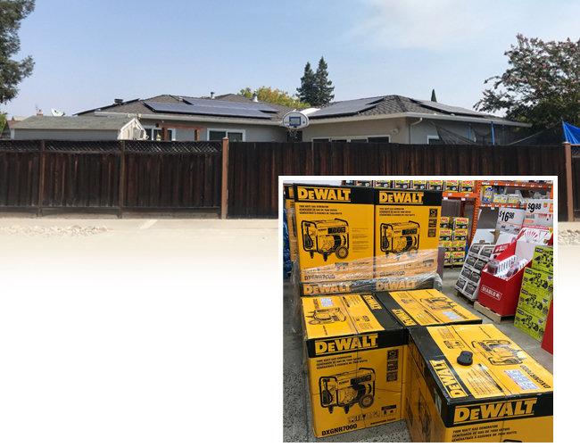 8월 30일 미국 캘리포니아주 실리콘밸리 새너제이의 한 주택 지붕에 설치된 태양광발전기 패널(위). 8월 30일 실리콘밸리 새너제이의 한 건축자재 매장에 진열된 가정용 발전기.