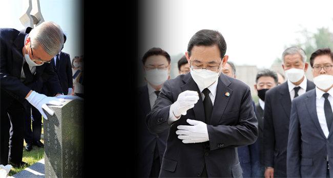 김종인 미래통합당(현 국민의힘) 비상대책위원장이 8월 19일 광주 북구 국립5·18민주묘지에서 윤상원·박기순 열사 합장묘를 참배하고 있다.(왼쪽) 5·18 민주화운동 40주년을 맞은 5월 18일 당시 미래통합당 주호영 원내대표 등 지도부가 국립 5·18민주묘지를 참배하고 있다. [뉴스1]